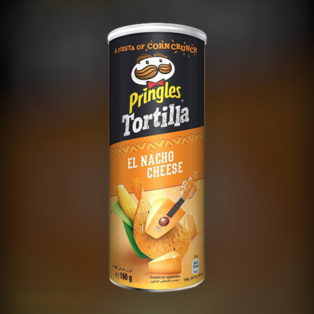 Чіпси кукурудзяні Pringles Tortilla El Nacho Cheese зі смаком сиру начо 160 г