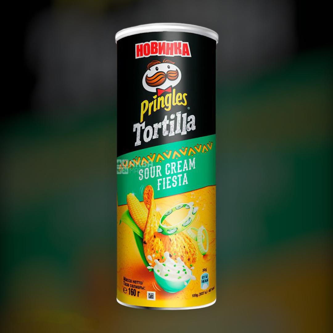 Чіпси кукурудзяні Pringles Tortilla зі смаком сметана і зелень 165 г